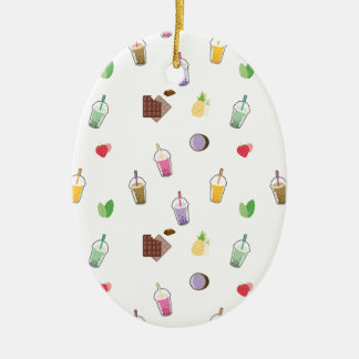 Kawaii Bubble Tea Ceramic Oval Decoration