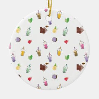 Kawaii Bubble Tea Round Ceramic Decoration