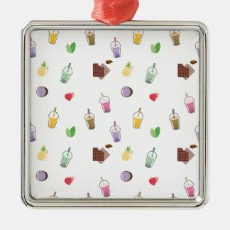 Kawaii Bubble Tea Silver-Colored Square Decoration