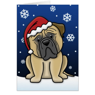 Kawaii Bullmastiff Christmas Card
