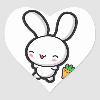 Kawaii Bunny and Carrot Heart Sticker