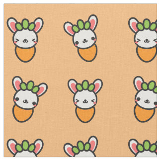 Kawaii Bunny Carrot with Orange Background Fabric