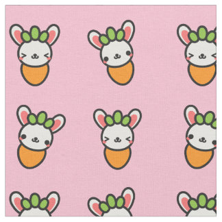 Kawaii Bunny Carrot with Pink Background Fabric