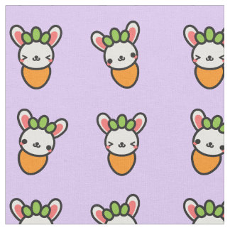 Kawaii Bunny Carrot with Purple Background Fabric