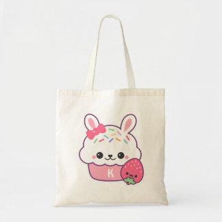 Kawaii Bunny Cupcake Monogram Tote Bag