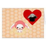 kawaii bunny pink be my valentine greeting cards