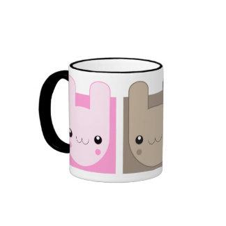 Kawaii Bunny Rabbit Trio v.02 Ringer Coffee Mug