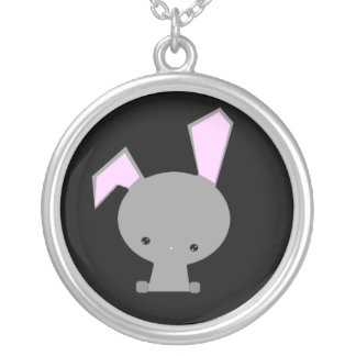 Kawaii Bunny Sterling Silver Pendant Necklace