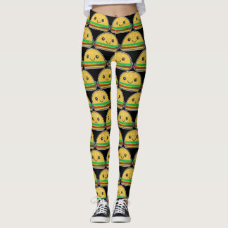 Kawaii Burger Time! - Leggins Leggings