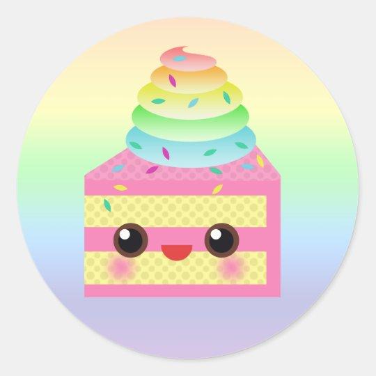 Kawaii Cake Pink Rainbow Sprinkles Fun Dessert Classic