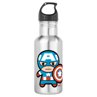 Kawaii Captain America With Shield 532 Ml Water Bottle