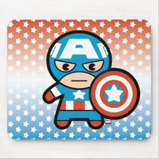 Kawaii Captain America With Shield Mouse Mat