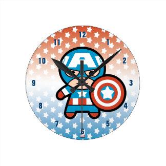 Kawaii Captain America With Shield Round Clock