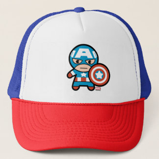 Kawaii Captain America With Shield Trucker Hat