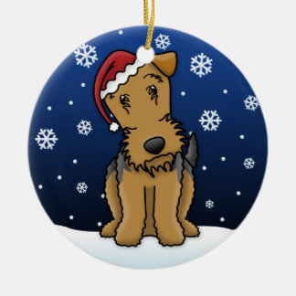 Kawaii Cartoon Airedale Terrier Christmas Ornament