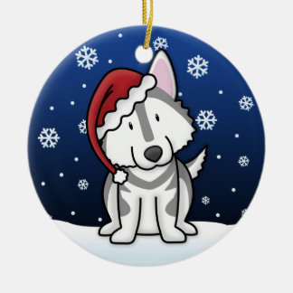 Kawaii Cartoon Alaskan Malamute Christmas Round Ceramic Decoration