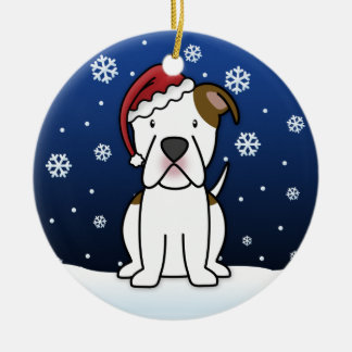 Kawaii Cartoon American Bulldog Christmas Round Ceramic Decoration