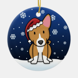 Kawaii Cartoon Basenji Christmas Round Ceramic Decoration