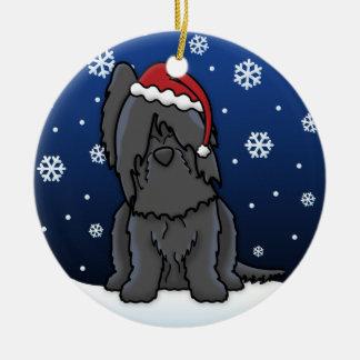 Kawaii Cartoon Black Briard Christmas Round Ceramic Decoration