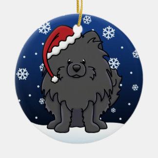 Kawaii Cartoon Black Pomeranian Christmas Ornament