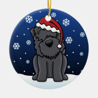 Kawaii Cartoon Black Russian Terrier Christmas Christmas Ornament
