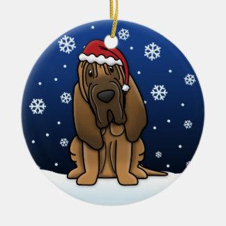 Kawaii Cartoon Bloodhound Christmas Round Ceramic Decoration