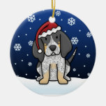 Kawaii Cartoon Bluetick Coonhound Christmas Round Ceramic Decoration