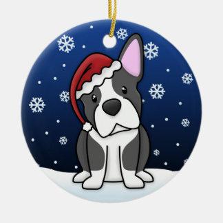 Kawaii Cartoon Boston Terrier Christmas Ornament