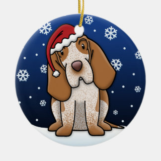 Kawaii Cartoon Bracco Italiano Christmas Round Ceramic Decoration