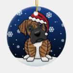 Kawaii Cartoon Brindle Boxer Christmas Christmas Ornament