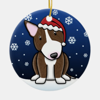 Kawaii Cartoon Brindle Bull Terrier Christmas Christmas Ornament