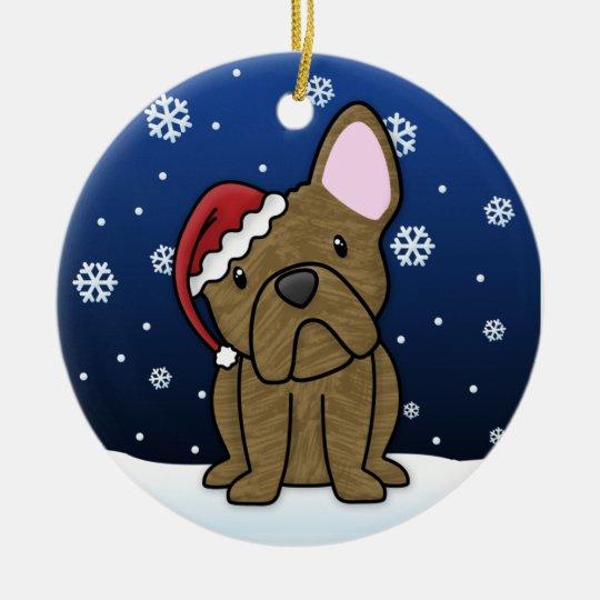 French Bulldog Christmas Ornament.Kawaii Cartoon Brindle French Bulldog Christmas Christmas Ornament