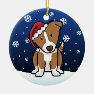 Kawaii Cartoon Brown Border Collie Christmas Christmas Ornament