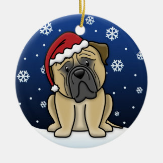 Kawaii Cartoon Bullmastiff Christmas Round Ceramic Decoration