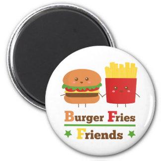 Kawaii Cartoon Burger Fries Friends BFF 6 Cm Round Magnet