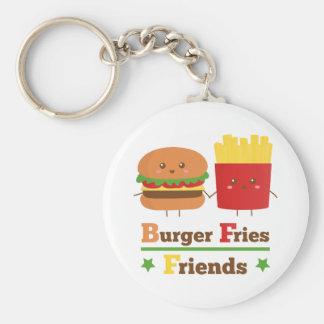 Kawaii Cartoon Burger Fries Friends BFF Basic Round Button Key Ring