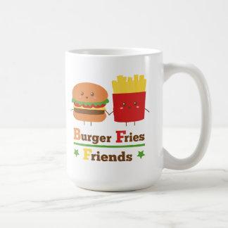 Kawaii Cartoon Burger Fries Friends BFF Basic White Mug
