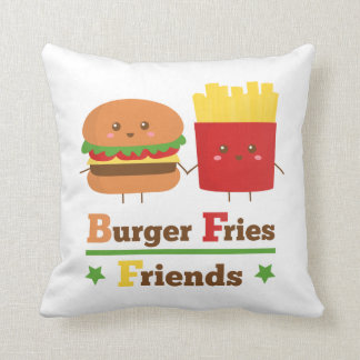 Kawaii Cartoon Burger Fries Friends BFF Cushion