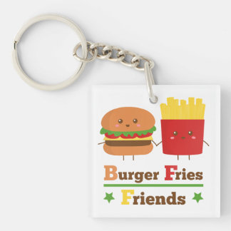 Kawaii Cartoon Burger Fries Friends BFF Double-Sided Square Acrylic Key Ring