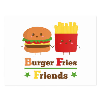 Kawaii Cartoon Burger Fries Friends BFF Postcard