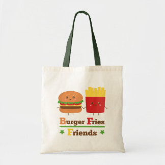 Kawaii Cartoon Burger Fries Friends BFF Tote Bag