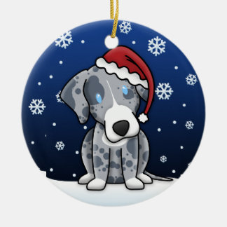 Kawaii Cartoon Catahoula Leopard Dog Christmas Christmas Ornament