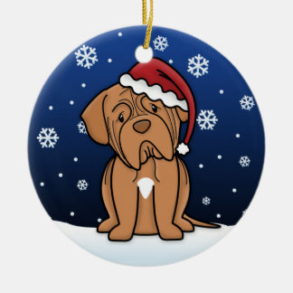 Kawaii Cartoon Dogue de Bordeaux Christmas Round Ceramic Decoration