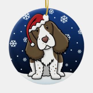 Kawaii Cartoon English Springer Spaniel Christmas Round Ceramic Decoration