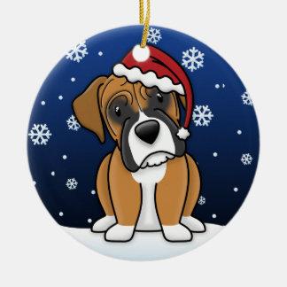 Kawaii Cartoon Fawn Boxer Christmas Christmas Ornament