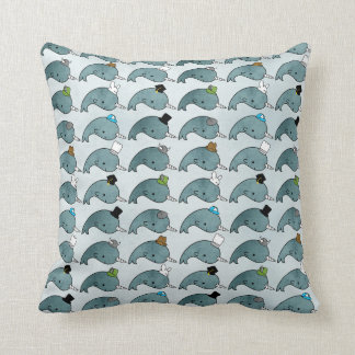 Kawaii Cartoon Grunge Narwhals with hats Pillow