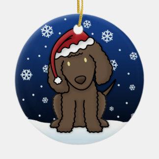 Kawaii Cartoon Irish Water Spaniel Christmas Round Ceramic Decoration