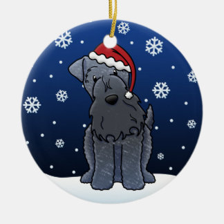 Kawaii Cartoon Kerry Blue Terrier Christmas Round Ceramic Decoration