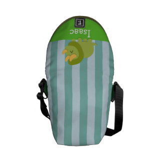Kawaii cartoon of green and yellow Triceratops Courier Bag