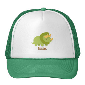 Kawaii cartoon of green and yellow Triceratops Hat
